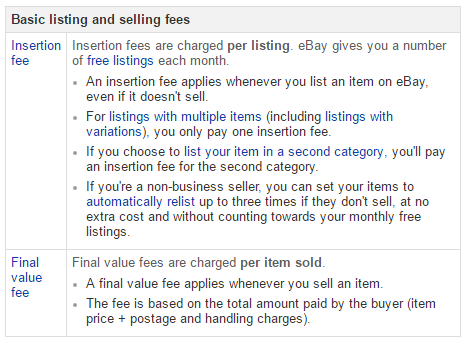 eBay Fee Overview [2016]